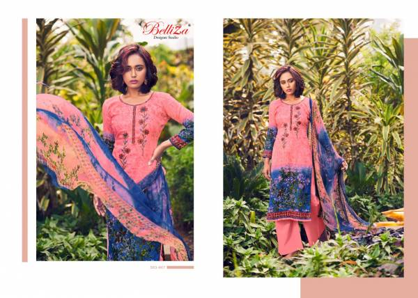 Belliza Rustic Green Series 503-001 - 503-010 Pure Cotton Digital Printed With Heavy Embroidery Work Salwar Suits Collection