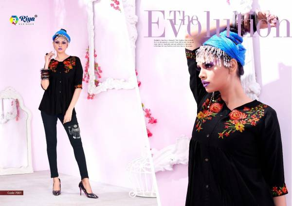 Riya Designer Compass Vol 7 Series 7001-7006 Rayon Dyed With Embroidery Work Fancy Tops Collection