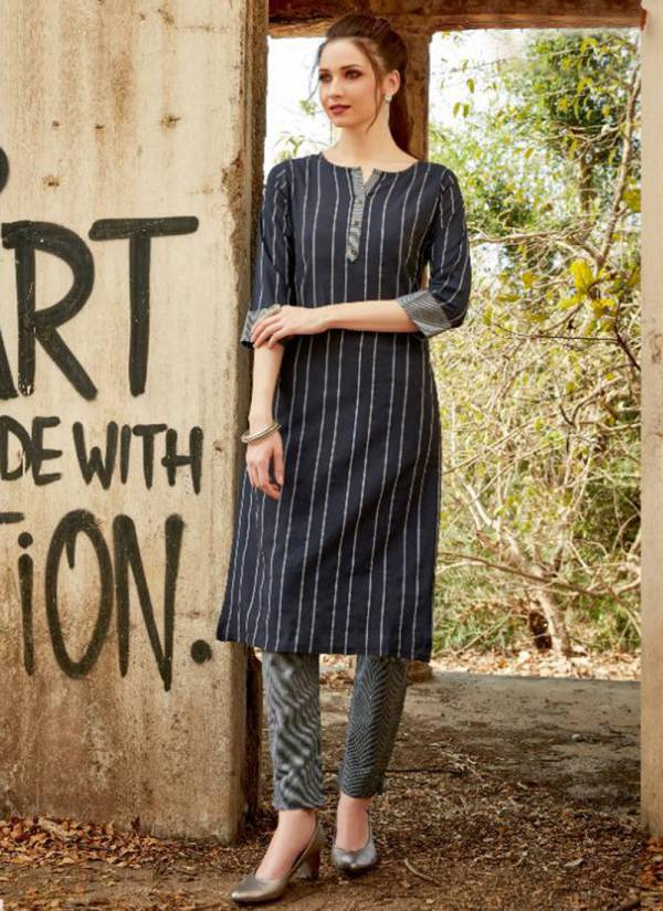 Pyora Victory Vol 1 Pure Handloom Weaving Cotton Stripe Stylish Look Casual Wear Kurti With Pent Collection