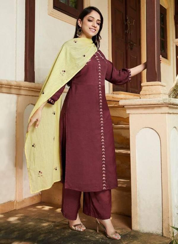 Aditya Agency Mystri Series MY-562 - MY-567 Mdal And Modal Chanderi Kurti Bottom With Dupatta Readymade Kurti Collection