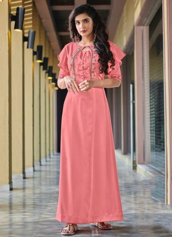 Vitara Fashion Siyona Vol 2 Series 1001-1006 Heavy Malai Satin With Embroidery Work Long Kurtis Collection