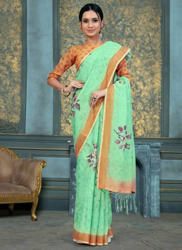 Apple Aaradhana Vol 11 Series 1101-1108 Pure Linen Fancy Digital Printed Sarees Collection