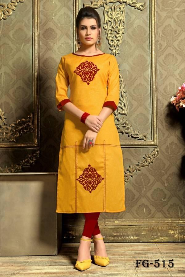 Fashion Galleria Shree Vol 5 Series FG-509 - FG-516 Khadi Cotton Aplic Work Straight Cut Daily Wear Kurtis Collection