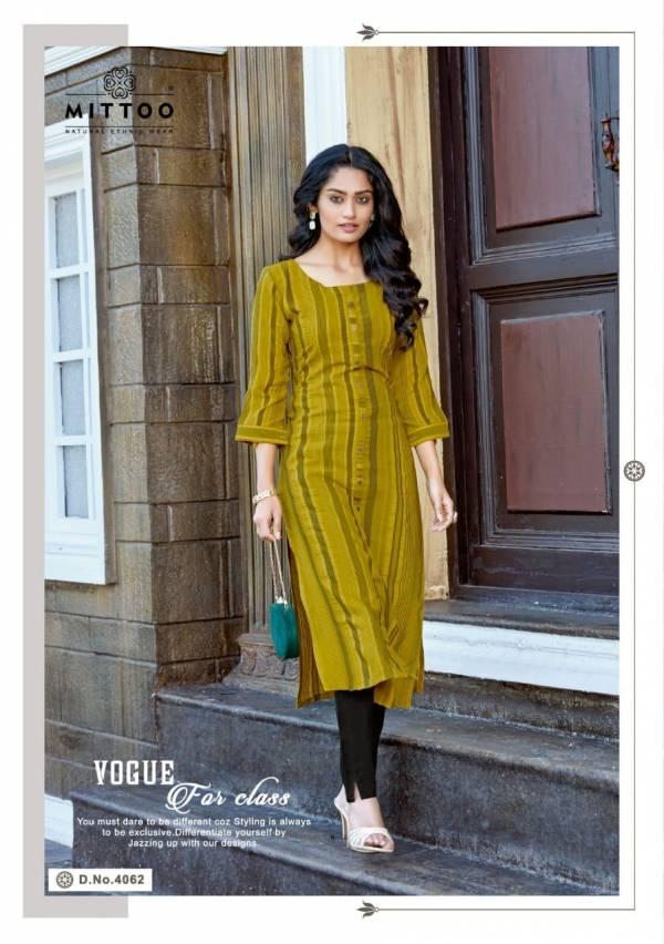 Mittoo Mohini Vol 6 Series 4060-4065 Weaving Stripes Rayon Slub Long Kurtis With Pants Collection