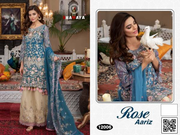 Shanaya Fashion Rose Aariz Series 12001-12006 Heavy Faux Georgette With Heavy Hand Work Eid Special Pakistani Suits Collection