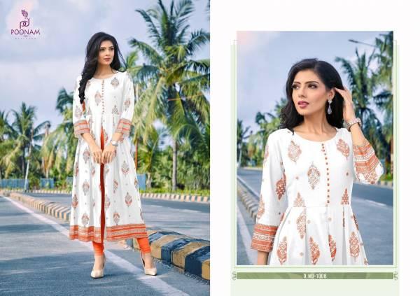 Poonam Akshara Pure Rayon Foil Printed Kurtis Collection