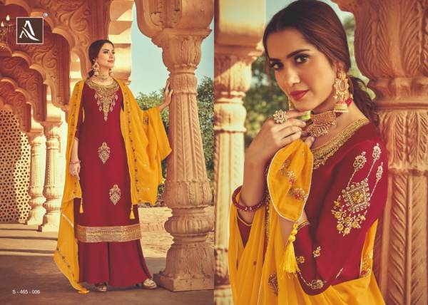 Alok Suit Heritage Pure Satin Georgette Heavy Embroidery And Hand Stone Work Festival Wear Designer Palazzo Suits Collection