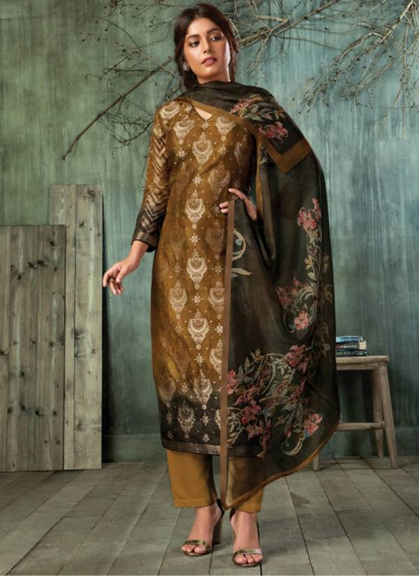 Om Tex Aara Series 1371-1376 New Designer Banarasi Jacquard Digital Print With HAnd Work Salwar Suits Collection