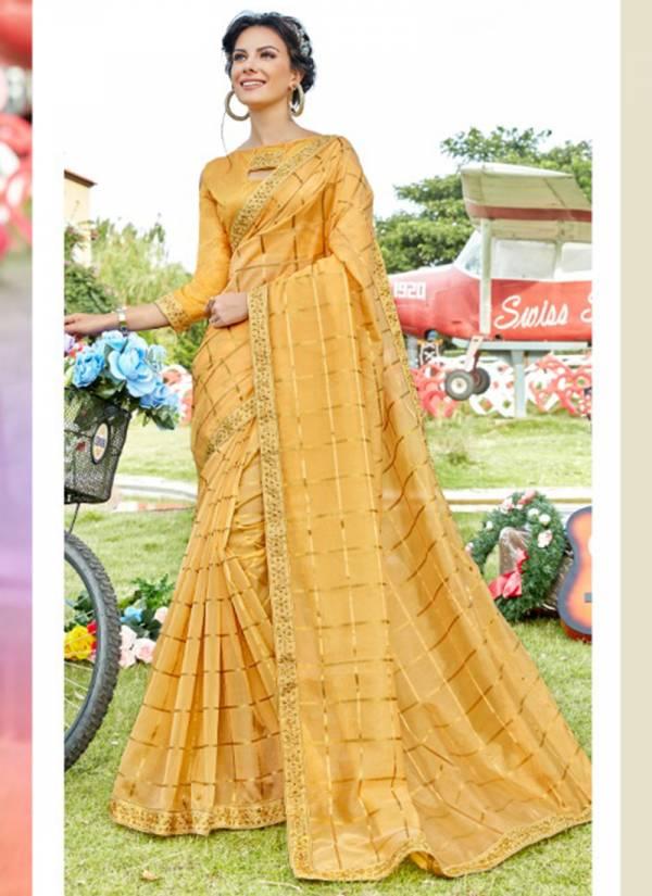 Saroj Neerja Series Neerja-60001-Neerja-60008 Organza With Stain Checks New Fancy Stylish Look Sarees Collection