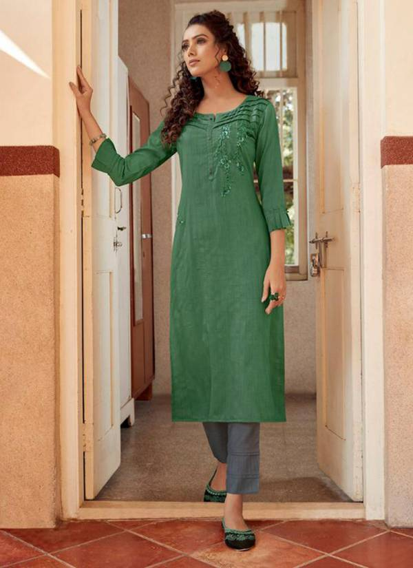 Kalaroop Octavia Vol 4 Series 12263-12268 Linen Silk With Fancy Hand Work New Designer Casual Wear Kurtis Collection