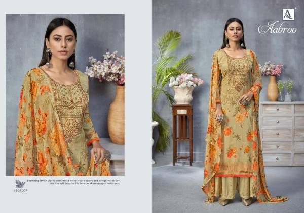 Alok Suit Aabroo Pure French Digital Print with Fancy Thread Embroidery & Swarovski Diamond Worked Salwar Suit Collection