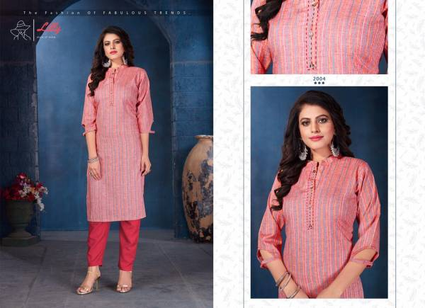 Lilly Amira Lining Rayon With Katha Kari Work Fancy Kurtis Collection