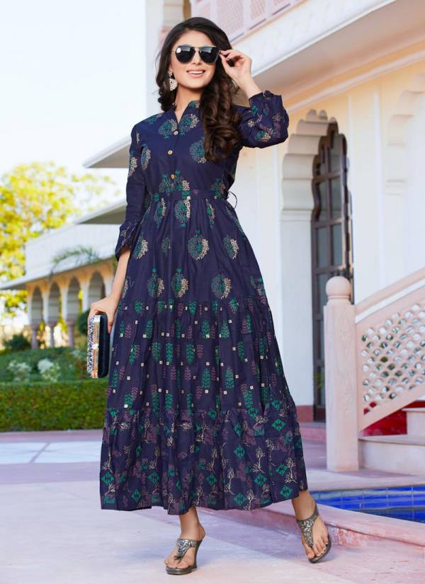 Blue Hills Gulabo Vol-1 Series 101-108 Cotton Mal With Foil Printed Traditional Wear Long Frill Kurti Collections