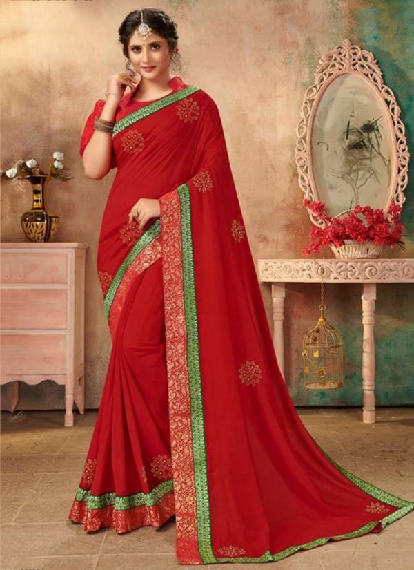 Saroj Gulfat Series 1001-1008 Vichitra Silk Swarovski Butta With Beautiful Lace Traditional Wear Saree Collections