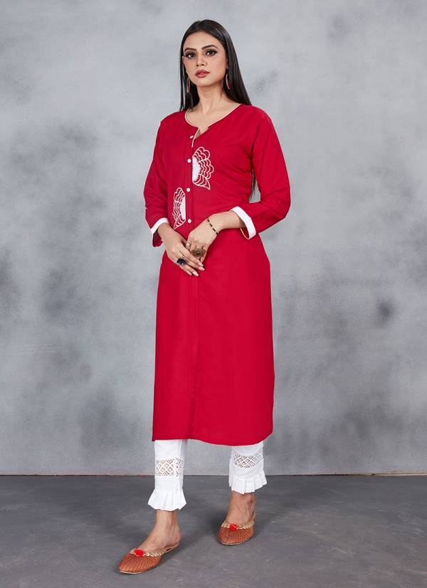 Series 108-115 Cotton & Rayon With Embroidery Work Designer Straight Cut Daily Wear Kurtis Collection