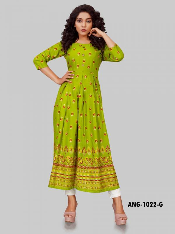12 Angel  ANG1022 Rayon Fancy Gold Printed Work Party Wear Designer Kurti Collection