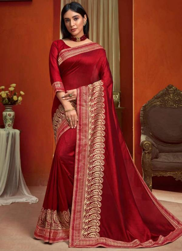 Saroj Roopvati Vichitra Silk With Heavy Zari Border Work Festval Wear Saree Collections