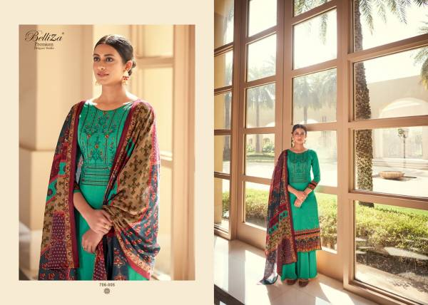 Belliza Designer Rozaan Pure Jam Cotton Printed With Heavy Work Palazzo Suits Collection