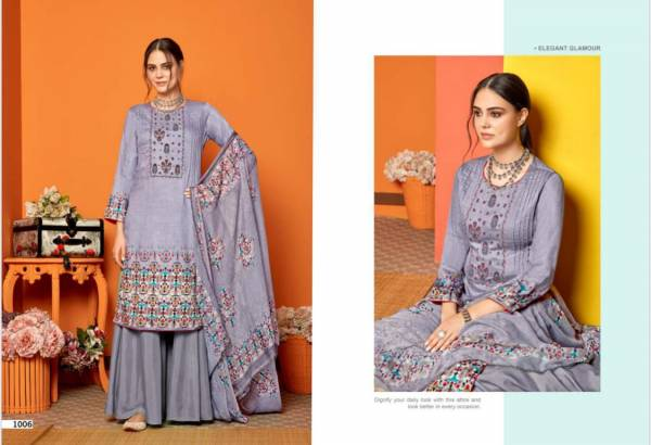 Sweety Fashion Falak Series 1001-1008 Cotton Satin With Fancy Thread Work Designer Regular Wear Palazzo Suits Collection