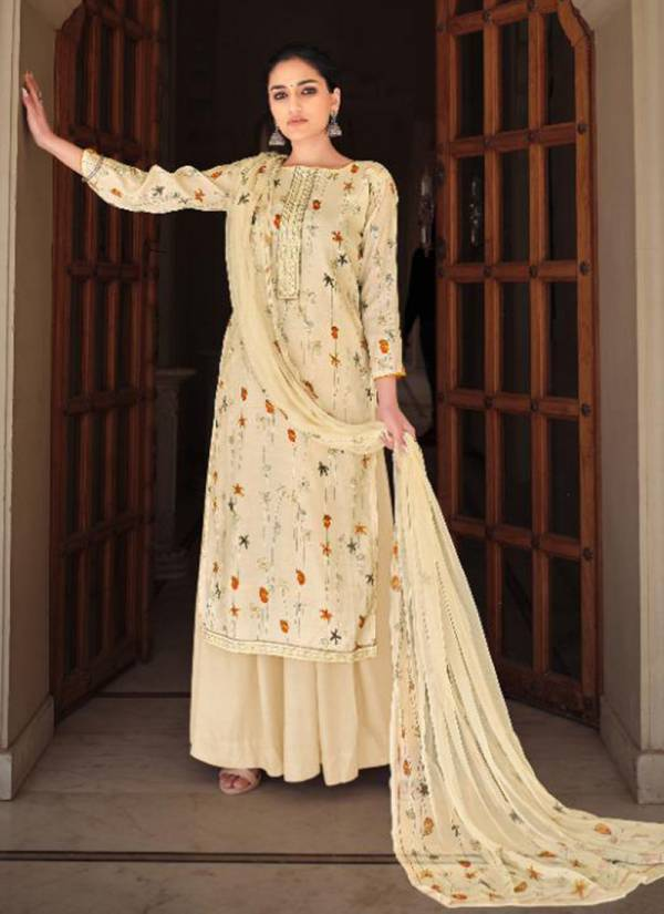 Sargam Prints Alexa Pure Cotton Silk Printed With Embroidery Patti Palazzo Suits Collection