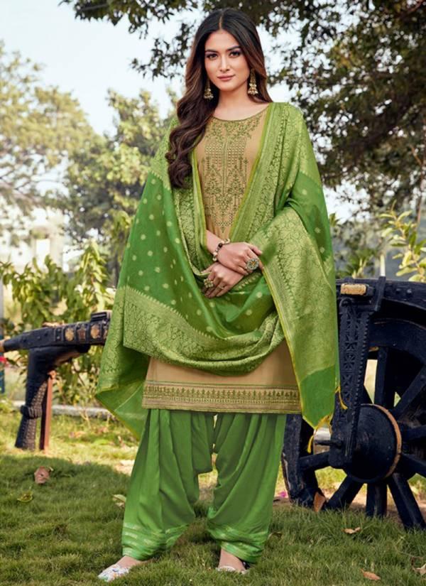Kalaroop Sunheri Patiyala Vol 3 Series 12250-12255 Jam Silk With Embroidery & Khatli Work Designer Casual Wear Readymade Panjabi Suits Collection
