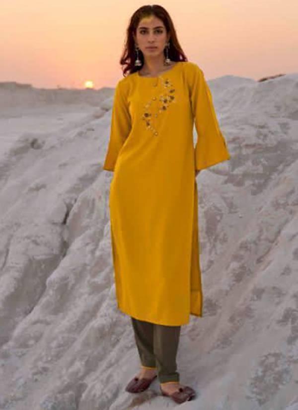 Kalki Fashion Sunheri Vol 4 Series 15001-15006 Pure Masaka Silk Khatli Work & Hand Work Straight Cut Long Kurtis With Pants Collection