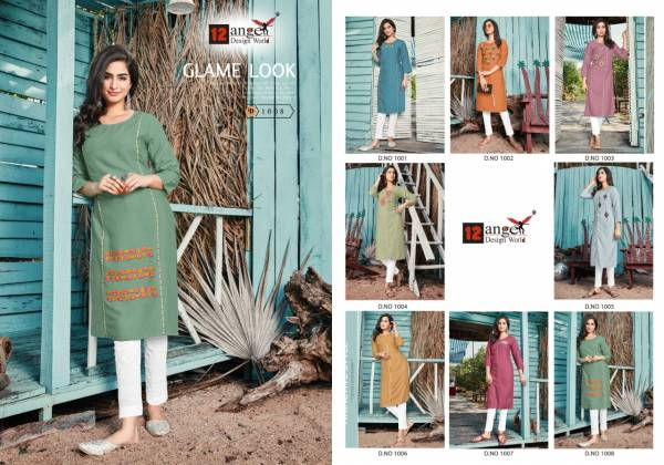 12 Angel Lime Series 1001-1008 Rayon Slub With Fancy Work Regular Wear Straight Cut Kurtis Collection