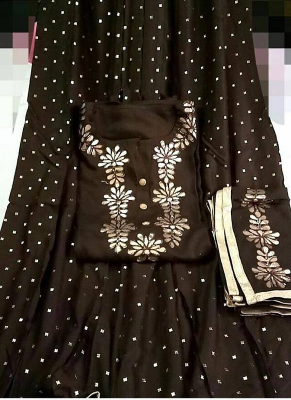 Designer Suits Series 521-524 Rayon Cotton Semi Stitch Gota Work Top With Full Stitched Palazzo With Fancy Dupatta Suits Collection