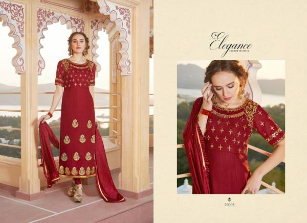 Gulzar Elegance Heavy Pure Chanderi Silk With Embroidery Zarkon Work Suits Collection