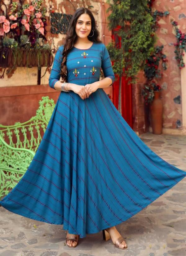 Aradhna Fashion Simonaa Vol 1 Heavy Rayon Stripes With Fancy Work Long Kurti Collection