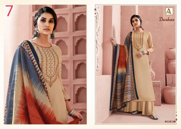 Alok Suit Dusaa Zam Self Print With Fancy Thread Embroidery and Swarovski Diamond Work Designer Palazzo Suits Collection