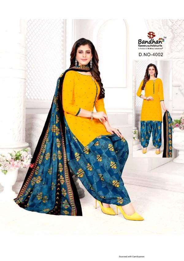 Bandhan Suits Priyalaxmi Series 4001-4015 Pure Cotton Printed Casual Wear Readymade Patiyala Suits Collection