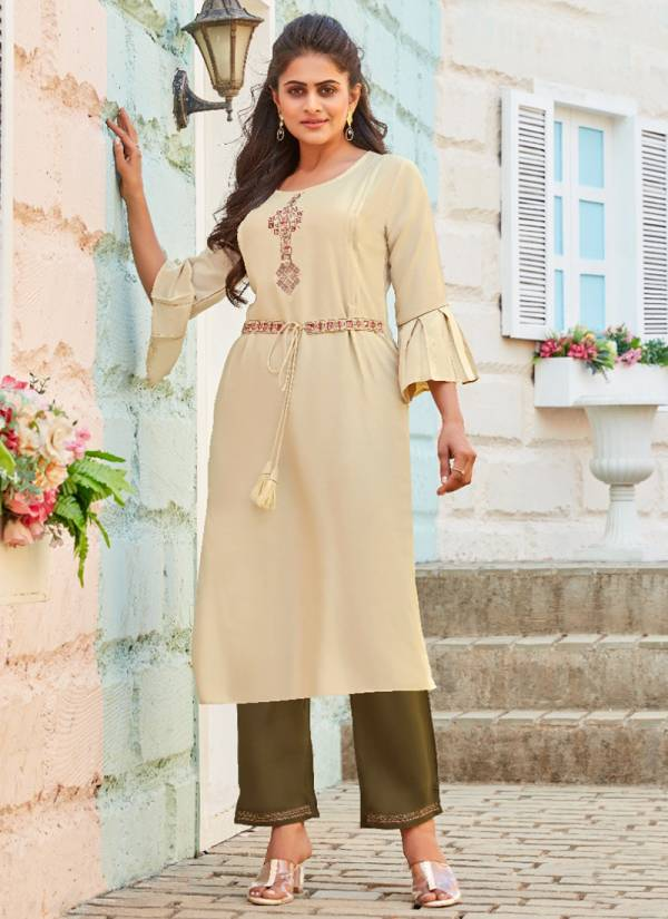 Lady View Beltom Embroidery Work Fancy Rayon Kurtis With Pants Collection