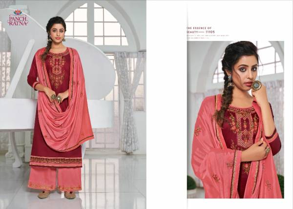 Kessi Panch Ratna Silver Stone Series 11101-11105 Jam Silk With Embroidery Work Designer Casual Wear Palazzo Suits Collection