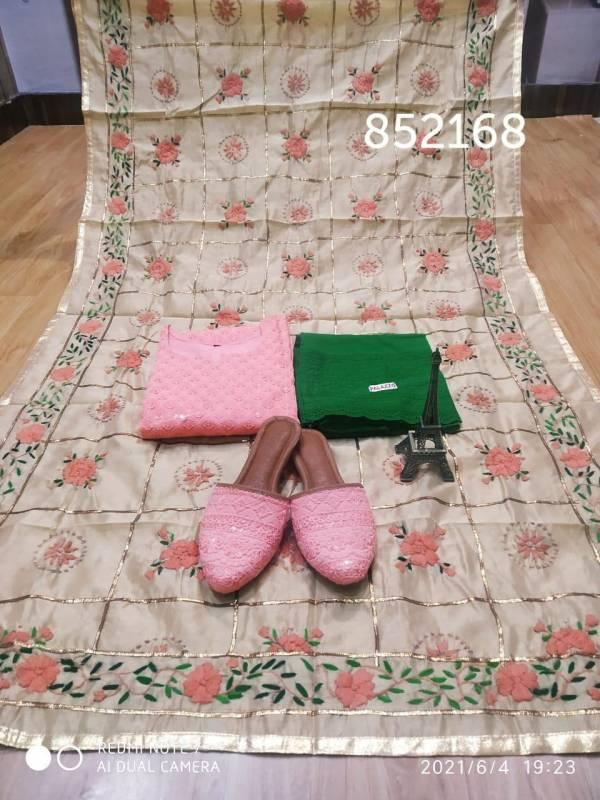 VE Phulkari Cotton With Fancy Work Duppata Punjabi Salwar Suits With Matching Jutti Collection(38-48 Sizes)