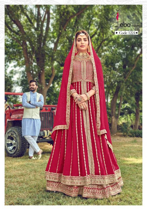 Eba Lifestyle Hussna Semi Pure With Heavy Embroidery Work Wedding Wear Anarkali Suit Collection