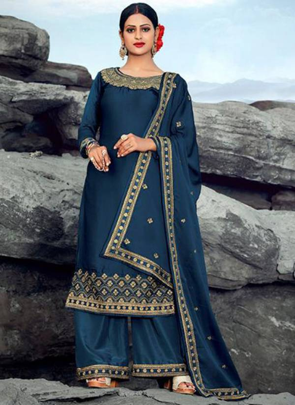 Taslim Gulfam Series 1001-1005 Satin Georgette With Heavy Embroidery Work Latest Designer Wedding Wear Palazzo Suits Collection