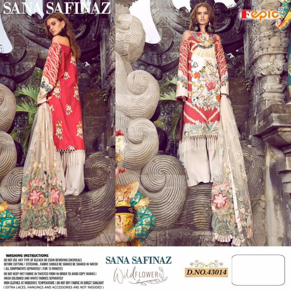 Fepic Wild Flower Cambric Cotton Digital Printed Heavy Embroidery Work Pakistani Suits Collection