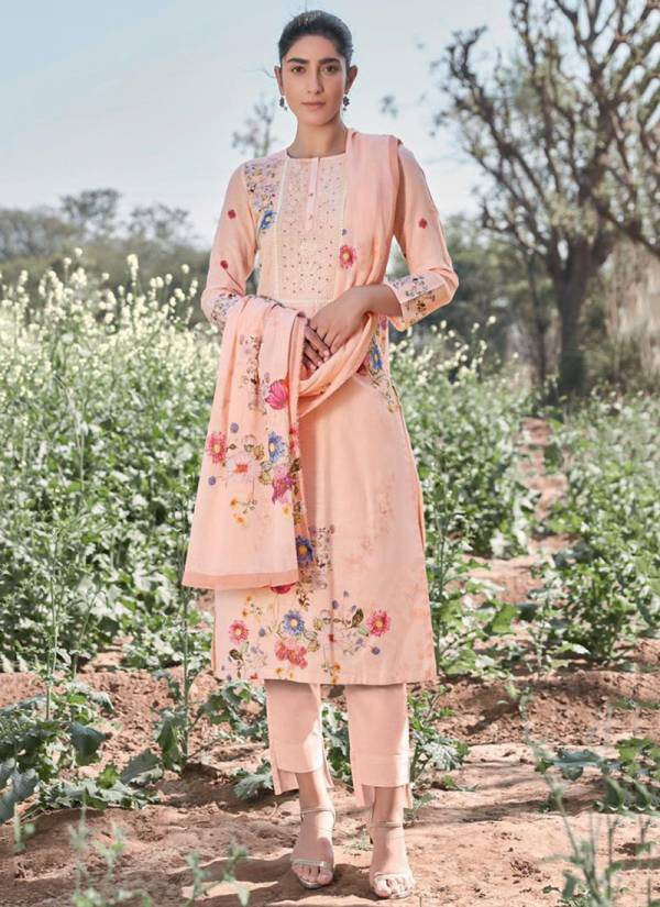 T&M Rosebud Pure Cotton Linen Embroidery Neck With Digital Printed Hand Work Party Wear Salwar Suit Collections