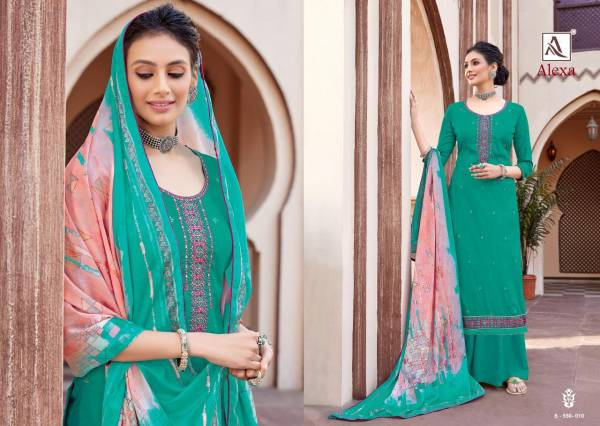 Alok Suit Alexa Pure Jam Dyed With Fancy Embroidery Work Palazzo Suits Collection