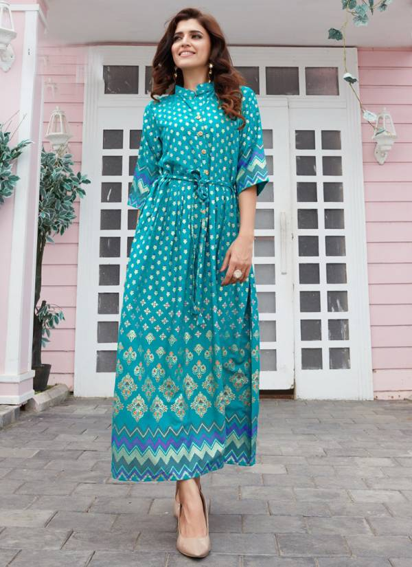 Blue Hills Royal Touch Series 1001-1004 Rayon Latest Long Gown With Foil Print Fancy Kurti Collection