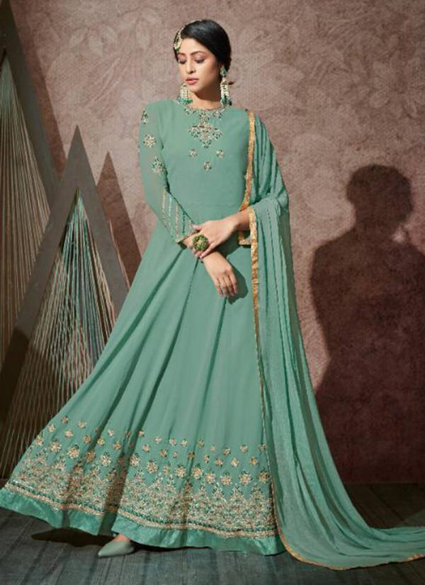 Karma Series 10602-10608 Georgette Heavy Embroidery With Stone Work Latest Designer Wedding Wear Anarkali Suits Collection