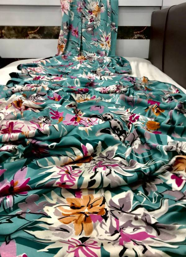 Rajtex Kavanya  Japanese Satin Crepe Fancy Printed Work Casual Wear Designer Sarees Collection