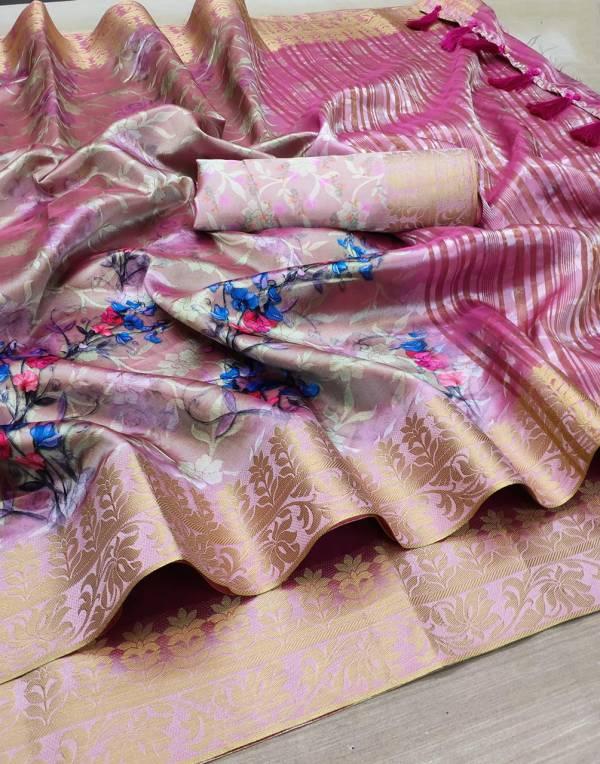 Varni fabric Silk City Soft Lichi silk Digital Flower Print And weaving Rich Pallu Designer Sarees collection