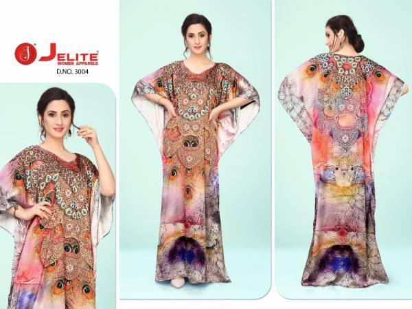 Jelite Kaftans Smooth Satin Digital Print And Diamond Work  Work Fancy Designer Kaftans Collection