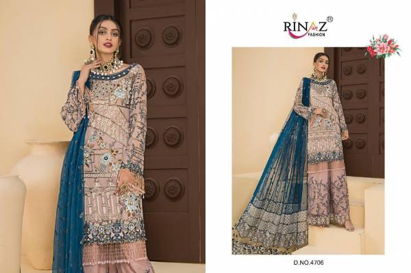 Rinaz Fashion Maryam's Gold Vol 7 Series 4701-4706 Faux Georgette With Heavy Embroidery & Daimond Work Designer Wedding Wear Pakistani Suits Collection