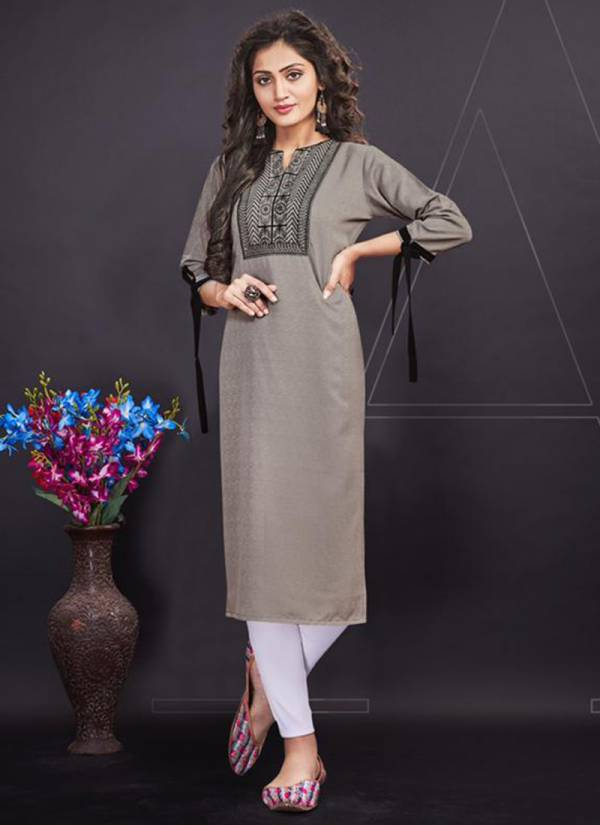 Nitara Nova Series 5301-5306 Fancy Soft Feel With Slub Pattern Fancy Work Casual wear Kurti Collection