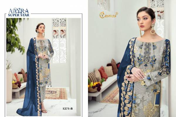 Cosmos Fashion Aayra SuperStar Series 1271-1271C Faux Georgette With Heavy Embroidery Work Ramzan Eid Special Pakistani Suits Collection