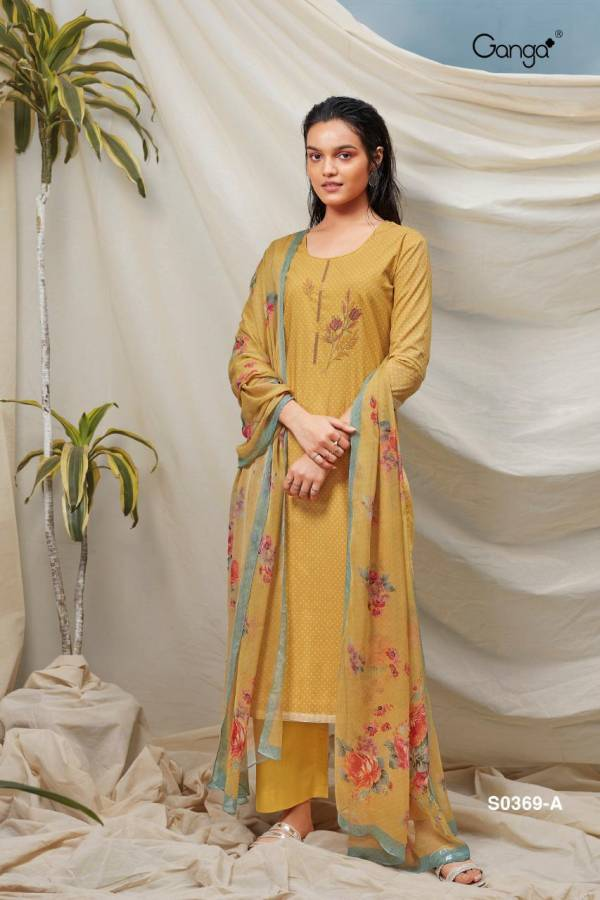Ganga Hana 369 Lawn Cotton Printed With Embroidery Work Fancy Palazzo Suit Collection