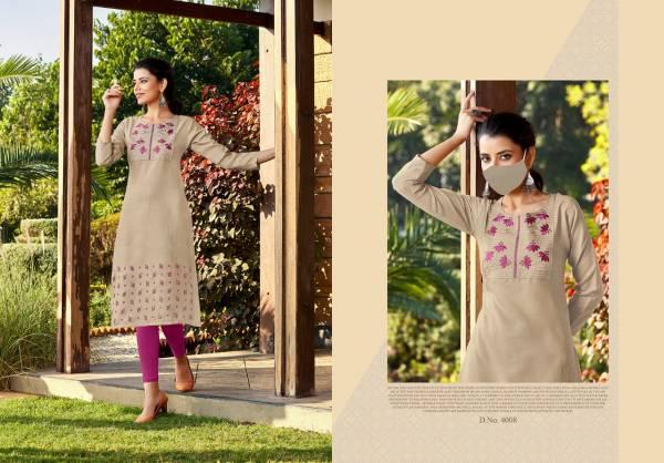 Nitisha NX Chingari Vol 4 Series 4001-4008 Heavy Soft Cotton Slub With Embroidery Work Kurtis With Mask Collection